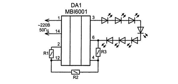 Применение микросхемы MBI6001